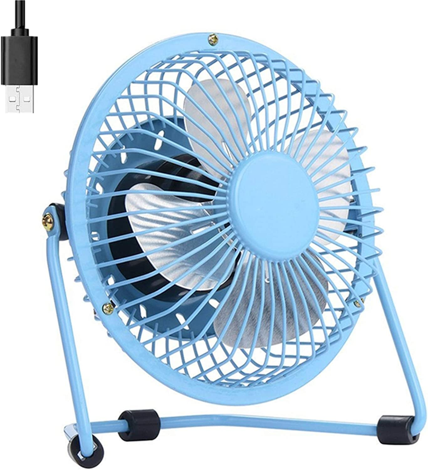 USB Fan 4 Inch Mini USB Desk Table Fan Personal Portable Desktop Cooling Fan Powered by USB PC Netbook for Camping Home Office Outdoor Travel, Strong Wind, Blue