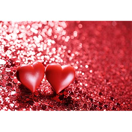 GoEoo 9x6ft Vinyl Photography Backdrop Valentines Day Red Blured Heart Pattern Boken Glitter Sparkle Scene Photo Background Children Baby Adults Portraits Backdrop
