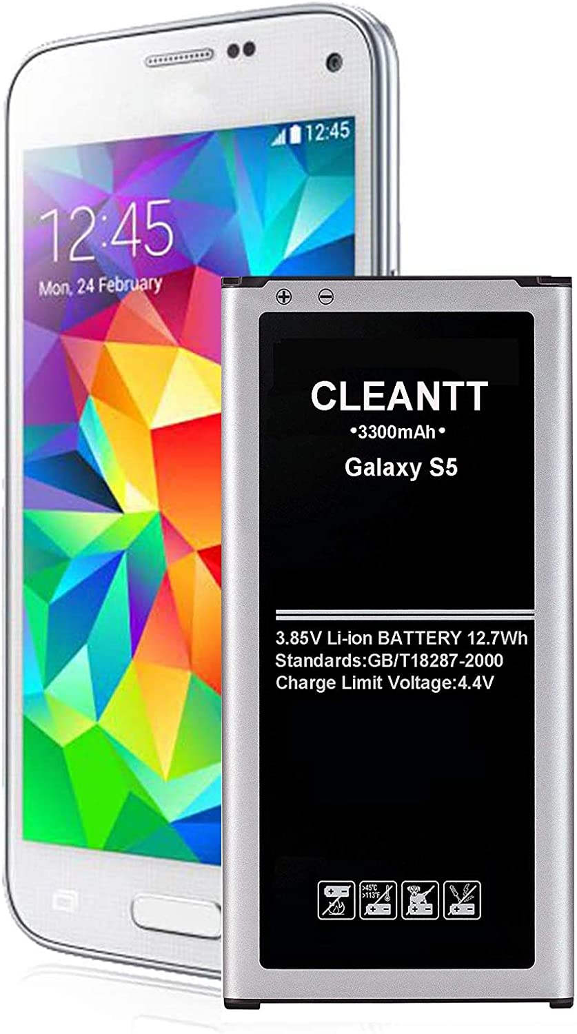 Galaxy S5 Battery, Cleantt 3300mAh Li-ion Replacement Battery for Samsung Galaxy S5 [ I9600, G900F, G900V (Verizon), G900T (T-Mobile), G900A (AT&T),G900P(Sprint)]
