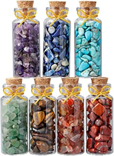 rockcloud 7 Mini Birthstone Wishing Bottles Amulets Tumbled Wicca Stone Healing Reiki Crystal Jewelry Making Home Decoration