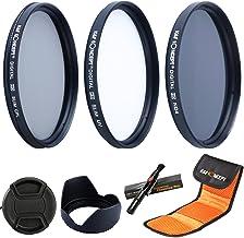 K&F Concept 58MM UV CPL ND4 58MM Filtro Ultrvioleta UV Filtro Polarizador Filtro de Densidad Neutra + Parasol de Lente + Centro Pinch Tapa del Objetivo + Pluma de Limpieza + Estuche para 3 Filtros