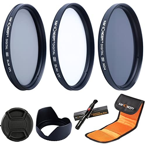 58MM Lens Filter Kit,K&F Concept 58mm Slim Filter Set UV Protector Circular Polarising Filter Neutral Density Filter + Lens Hood + Center Pinch Lens Cap + Microfiber Cleaning Pen + Filter Case