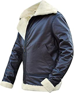 BIKETAFUWY Leather Jacket for Men,Vintage Motorcycle Brown Distressed Coats Classic Faux Fur Lined Zipper Warm Thicken