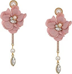 Flower Earrings with Linear Drop Stone