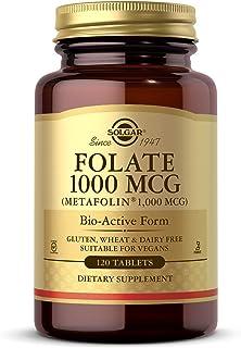 Solgar Folate 1000 mcg DFE, 120 Tablets - 1666 mcg Bio-Active Metafolin - Heart Health - Vegan, Gluten Free, Dairy Free, K...