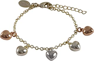 Tri-Color Gold Finish Puffy Hearts Girls Charm Bracelet