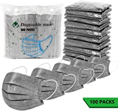 100 Pack Surgical Disposable Face Masks, 3 Ply Breathable Charcoal Activated Flu Protection Earloop Masks (Gray)