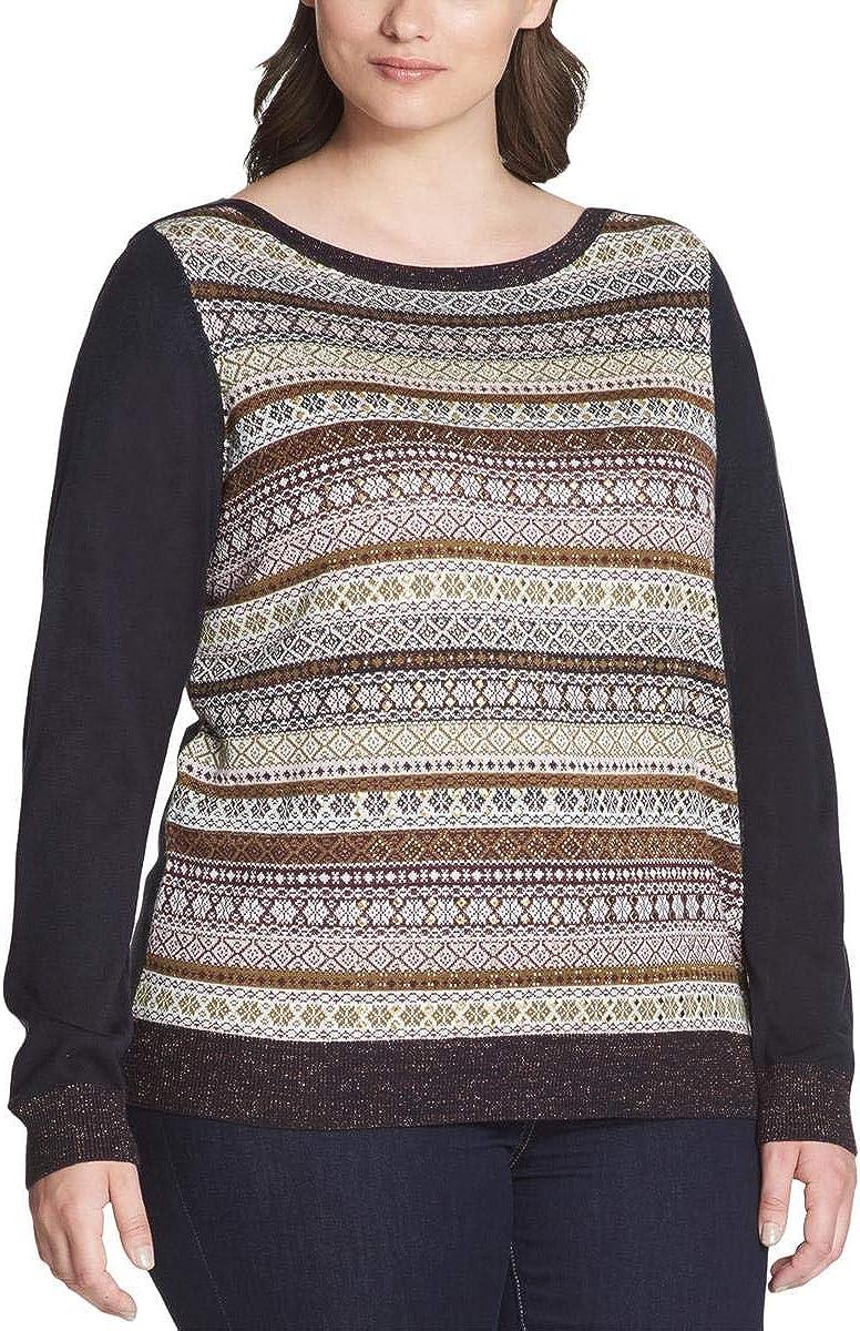 Tommy Hilfiger Women's Plus Size Metallic Striped Embellished Sweater