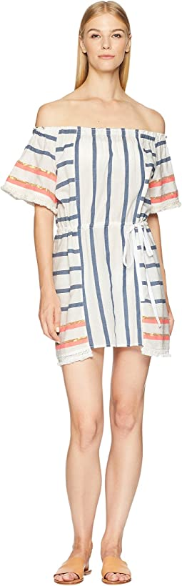 Stripe Off the Shoulder Dress Cover-Up