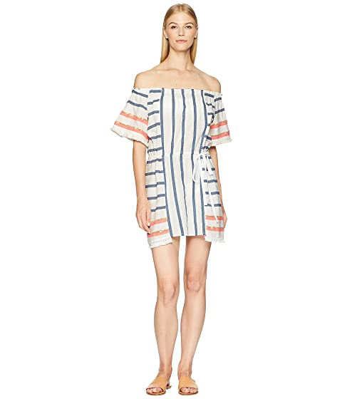 Letarte Stripe Off the Shoulder Dress Cover-Up