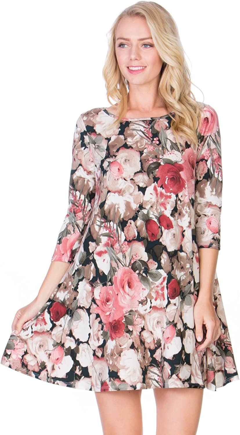 12TREES Womens 3 4 Sleeve Print Side Pocket A Line Loose Fit Comfy Casual Tunic