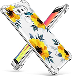 GVIEWIN Designed for LG V20 Case, Clear Flower Pattern Design Soft & Flexible TPU Slim Fit Shockproof Transparent Floral Cover, 5.7 inch(2016) (Sunflowers/Yellow)