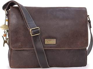 Catwalk Collection Handbags - Ladies Large Distressed Leather Messenger Bag - Women's Cross Body Organiser Work Bag - Laptop/Tablet Bag - SABINE L