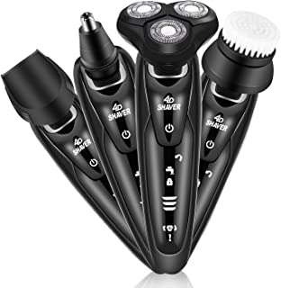 Electric Rotary Shaver for Men, 4 in 1 Electric Rotary Razor Beard Trimmer Wet Dry Shaver Cordless Waterproof Portable Travel Rechargeable USB Fast Charging for Nose Hair Face Cleaning Best Gift