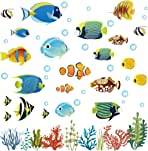 decalmile Tropical Fish Wall Decals Under The Sea Wall Stickers Kids Nursery Bedroom Bathroom Wall Decor