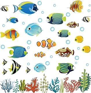 decalmile Stickers Muraux Tropicale Poisson Autocollant Murale sous la Mer Décoration Murale Chambres d'enfants Coin Salle...