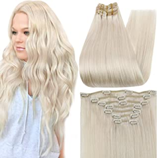 Full Shine 12 Inch Clip in Hair 7A Grade Solid Blonde Hair Extensions 100 Remy Brazilian Hair Pure Color 60 Clip in Human ...
