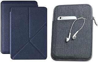 Capa Kindle Paperwhite 10ª geração à prova d'água Azul Marinho Origami - Função Liga/Desliga - Fechamento magnético + Bols...