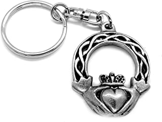 Handmade by William Sturt Bereavement  Gift Initial Angel Key Fob in Fine Pewter Personalised Guardian Angel Keyring