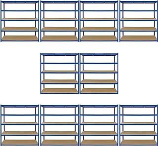 Monster Racking T-Rax 10 x étagères de rangement extra larges, bleu, 160cm L, 60cm P