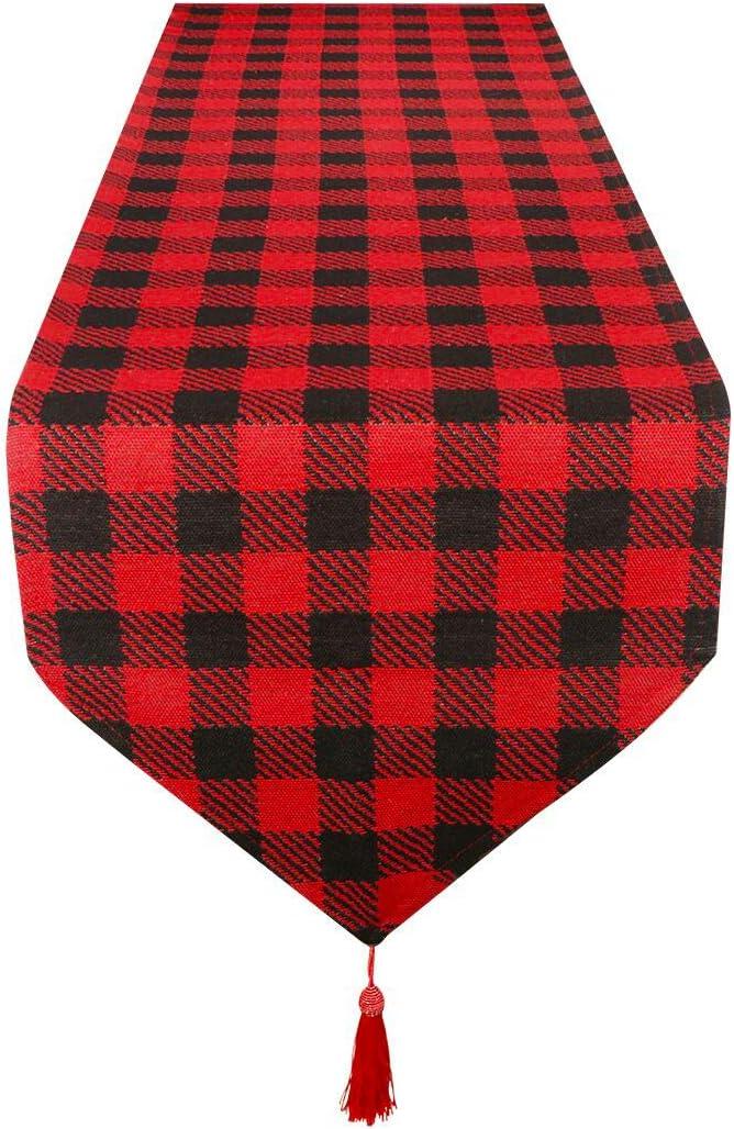 Fangoo Cotton Burlap Superior Buffalo Nippon regular agency Check Runner Table Chr Christmas