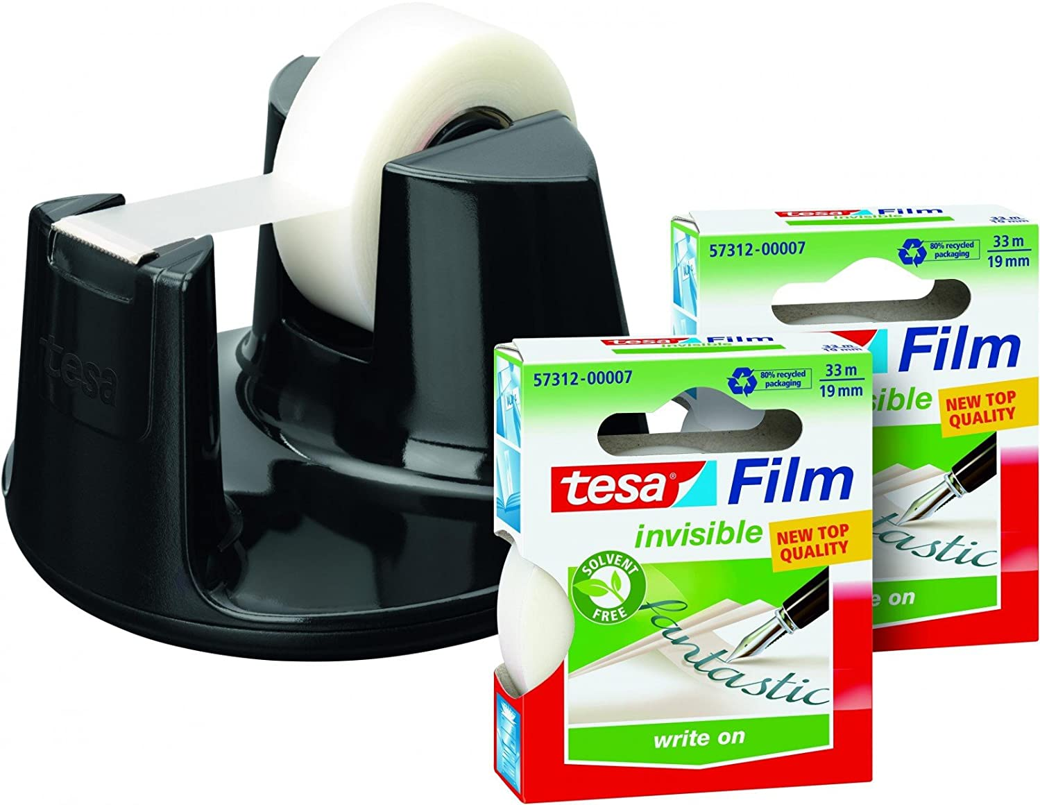Tesa Easy Cut Compact Promo Value Pack Tesafilm Eco & Clear 2?X 33?M: 19?mm + Dispenser