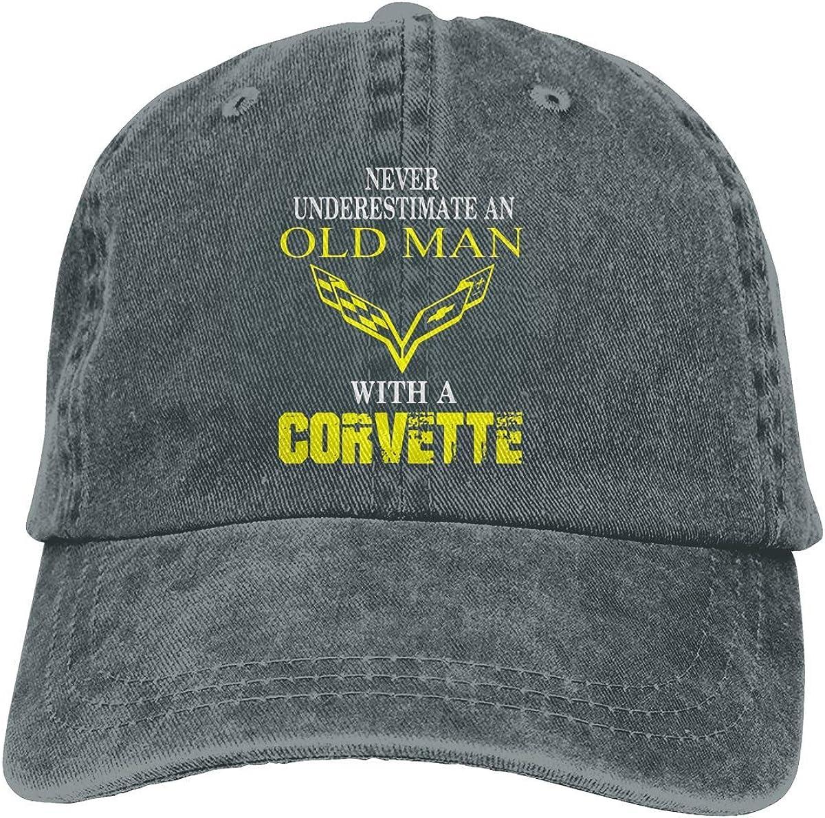 Never Underestimate an Old Man with A Corvette Denim Cap Plain Baseball Hat Black