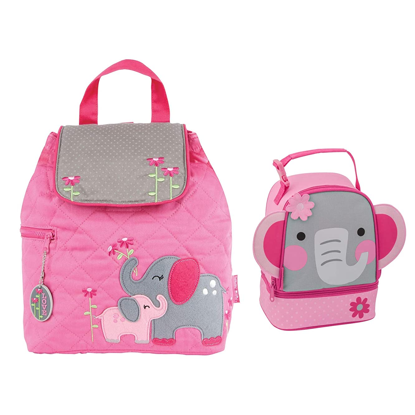 Stephen Joseph Quilted Elephant Backpack and Lunch Pal for Girls