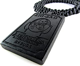 Large Wooden Zig Zag Papers Pendant Wiz Khalifa Bead Chain Necklace ALL GOOD WOOD STYLE! black