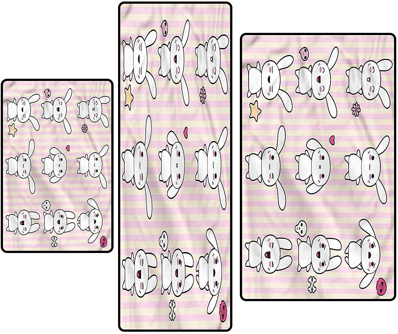 Kids Non-Slip Kitchen Mat Free shipping Max 83% OFF Runner Rug Cute Anime Bunnies Ins Set