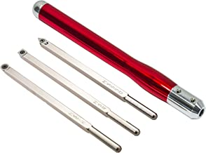Simple Woodturning Tools COMBO: Mid Size Rougher, Turner & Hollower and Detailer Carbide Wood Turning Hand Tool Set with Interchangeable Handle for Wood Lathe (3 Tools w/Brilliant Red handle) USA Made