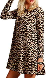 Women's Casual Leopard Print Long Sleeve Dress