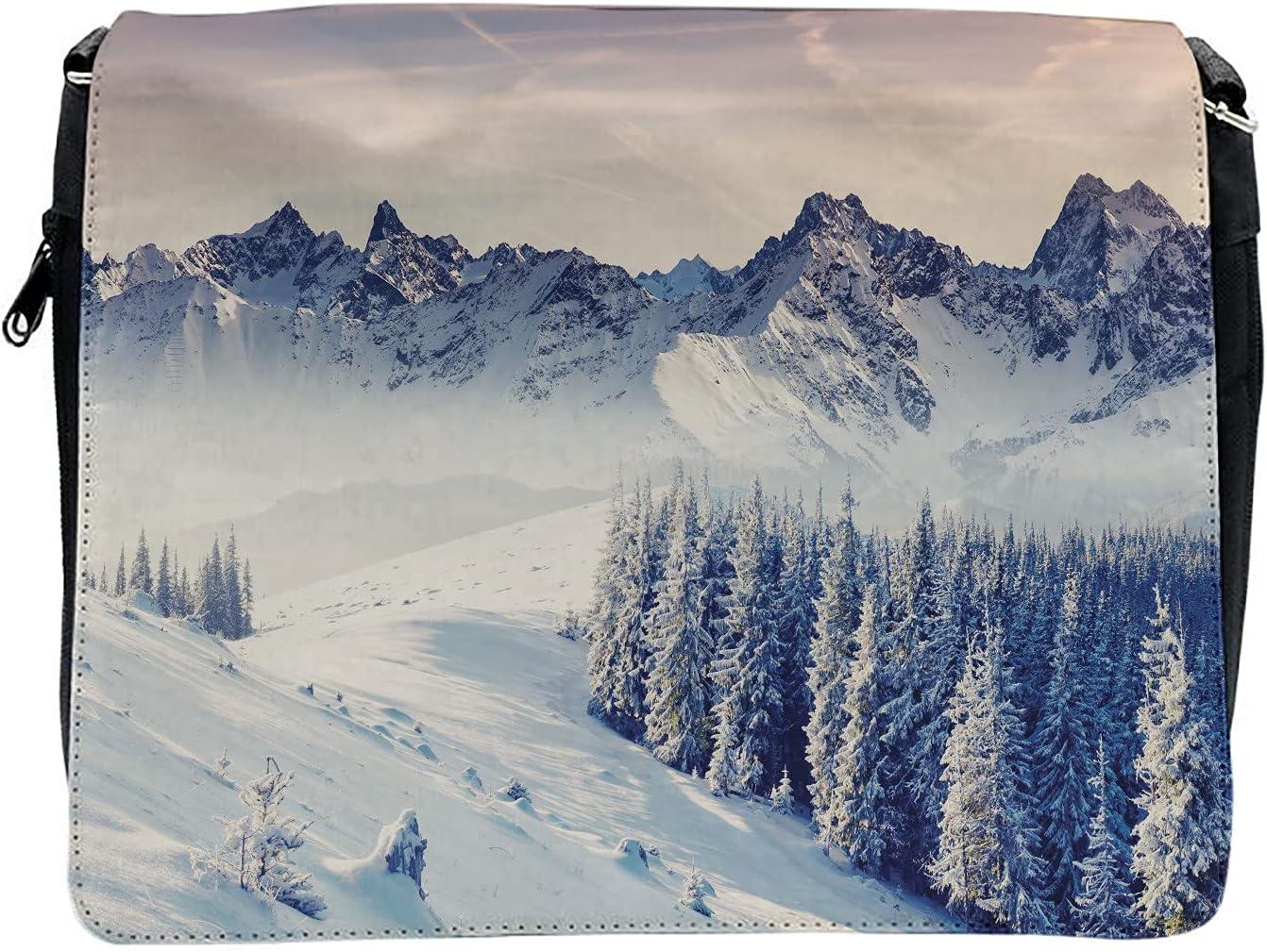 Ambesonne Black White Cross Body Messenger Bag, Snowy Winter View, Unisex