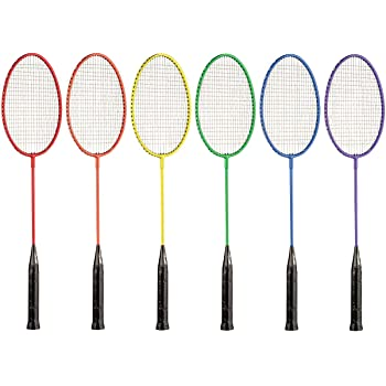 Champion Sports Tempered Steel Badminton Rackets Set of 6