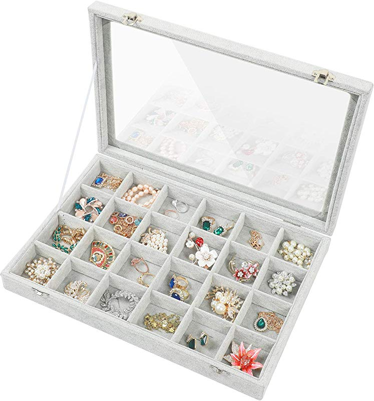 Stylifing Clear Lid Velvet 24 Grid Jewelry Tray Stackable Display Showcase Lockable Organizer Box For Girls Women