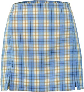 GAGA Womens Summer Slim Fit Plaid Skirt High Waist A-Line Mini Skirt