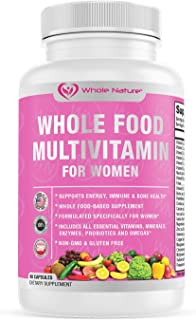 WHOLE NATURE Whole Food Multivitamin for Women - with B12 Methyl Folate, Womens Multi Vitamin Minerals, Probiotics and Ome...