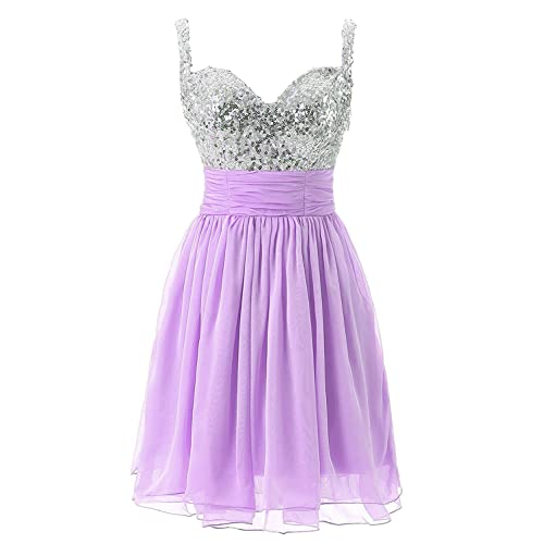 9170b931628 Clearbridal Women s Lilac Homecoming Dresses Short Chiffon Prom Party  Dresses for Juniors 2018