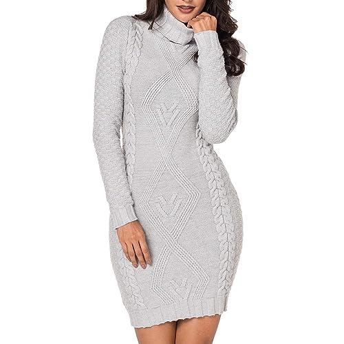 8a02846bed LaSuiveur Women s Slim Fit Cable Knit Long Sleeve Sweater Dress