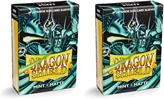Dragon Shield Bundle: 2 Packs of 60 Count Japanese Size Mini Matte Card Sleeves - Matte Mint