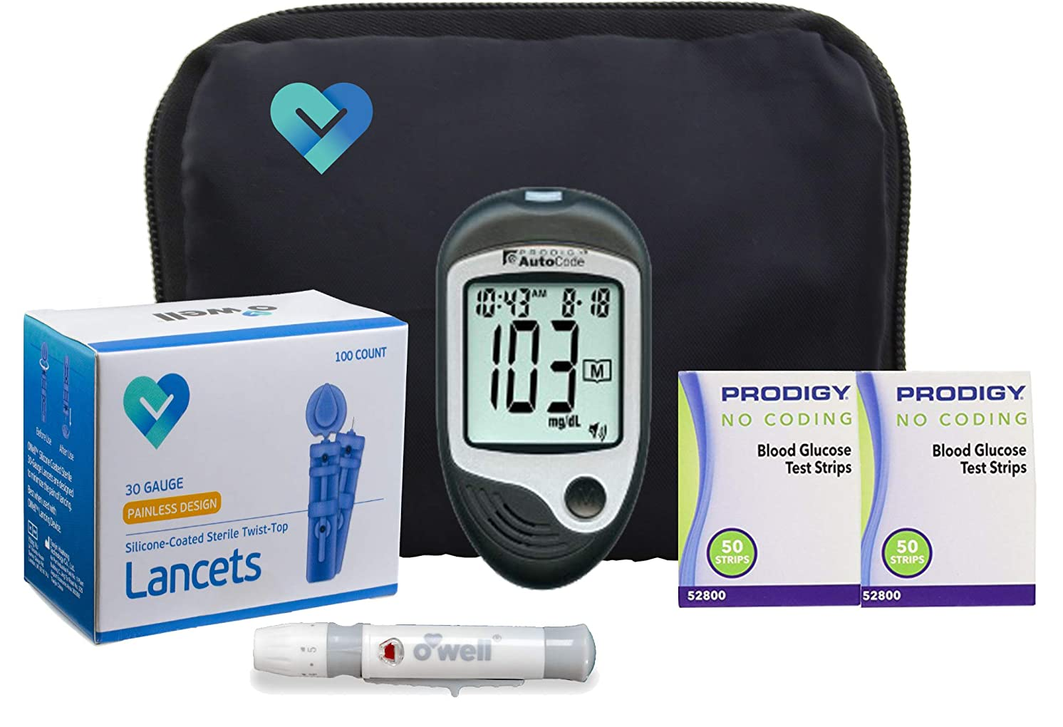 O'Well Prodigy Diabetes Testing Kit | Prodigy TALKING Blood Glucose Meter, 100 Prodigy Blood Glucose Test Strips, 100 Lancets, Lancing Device, Log Book, User Manuals & Carry Case