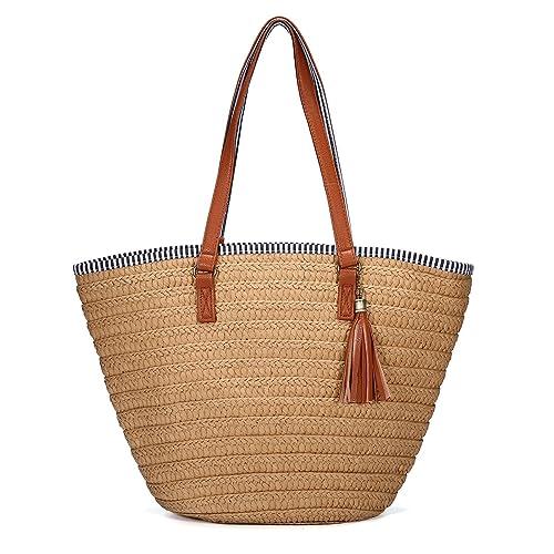 3f7c21b40cf Straw Beach Bag, JOSEKO Summer Handbags Shoulder Bag Tote with Leather  Handles Tassels Women Bag