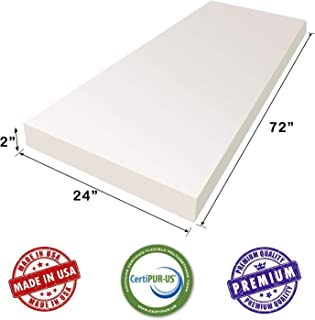 AK TRADING Upholstery Foam Medium Density Cushion, (Seat Replacement, Foam Sheet, Foam Padding), 72'' LX 2'' H X 24'' W