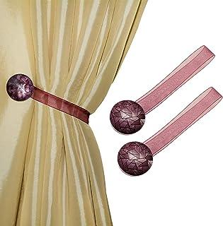 MagnaClips Curtain Tiebacks or Holdbacks, Curtain Clips - Magnetic Round Buckle, Set of 2, Diamond (Brugundy)
