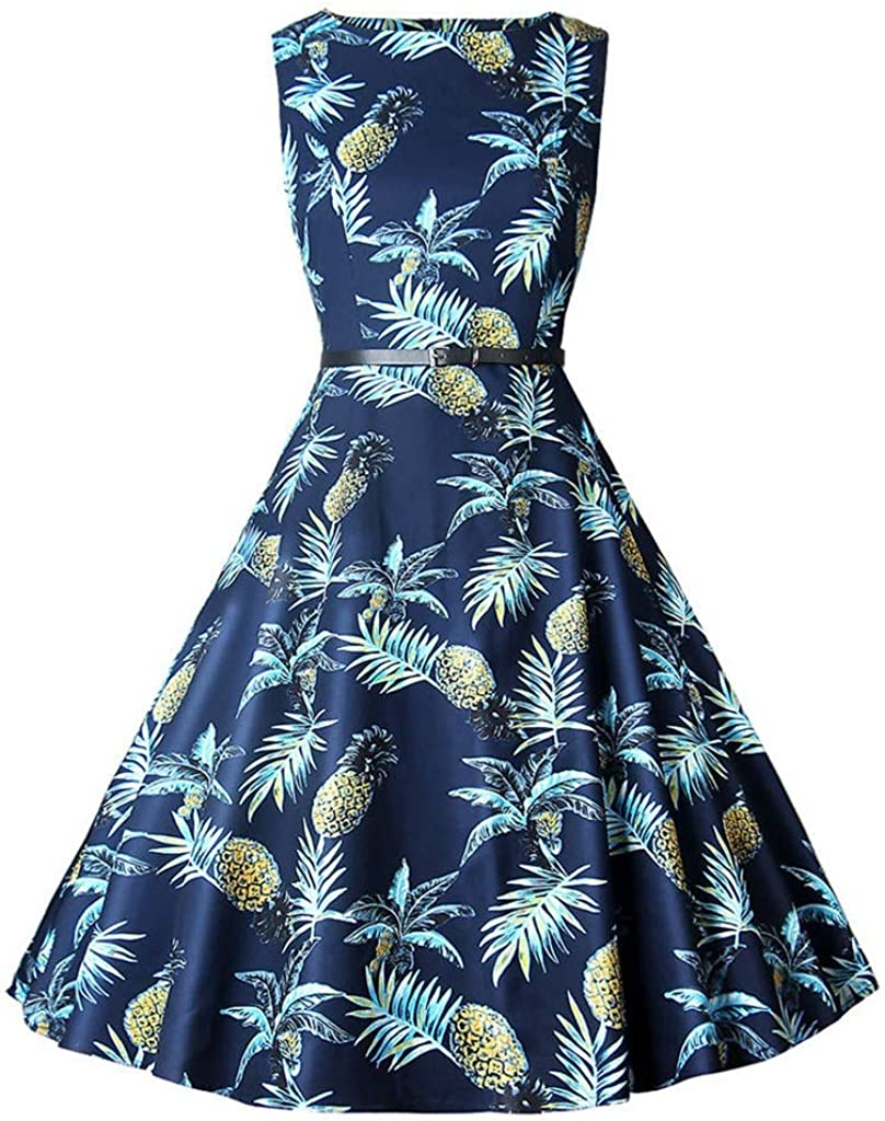 Dongjiguang Dress Printed Baltimore Mall Round Latest item Neck Waist High and Large