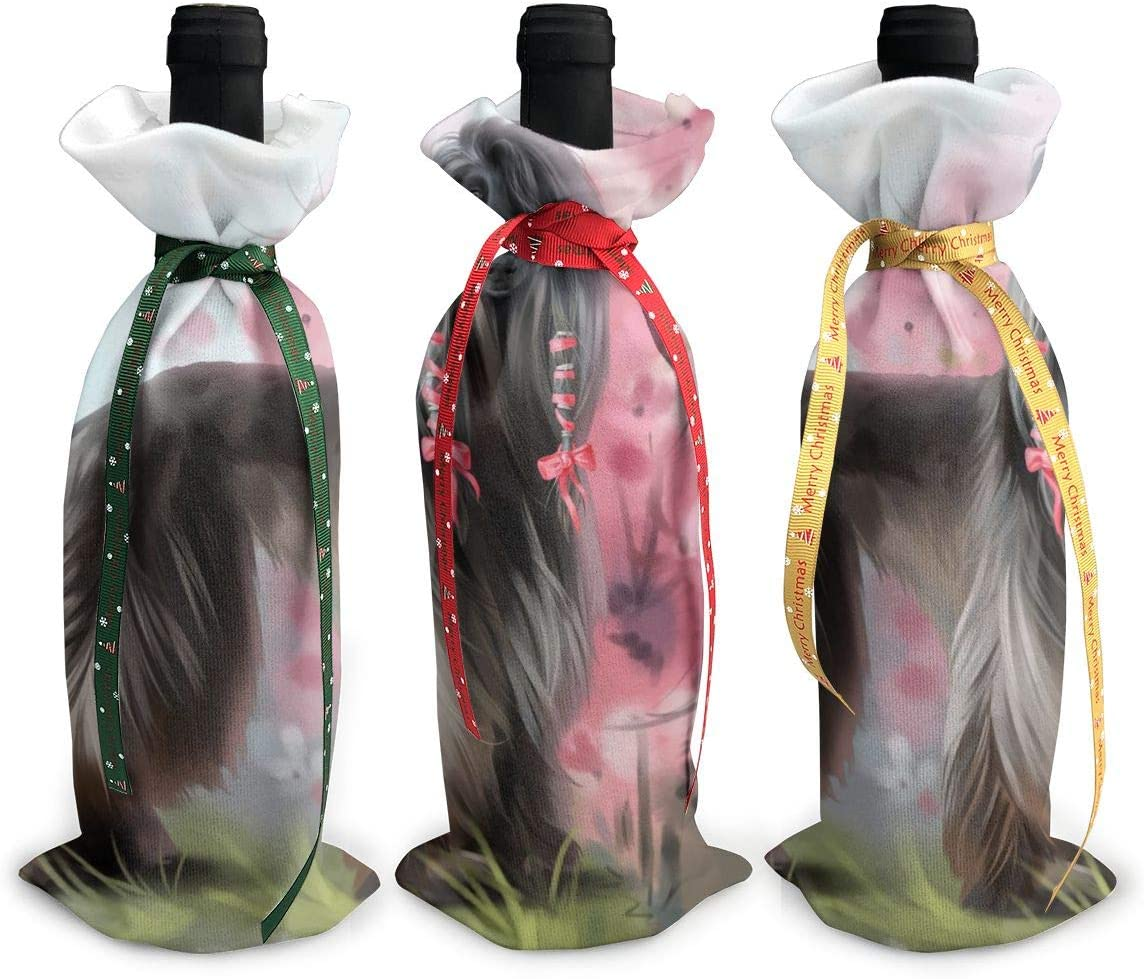 Long Hair Art Afghan Hound Dog3Pcs Christmas Cheap bargain Glass Trust Wine Red Xmas