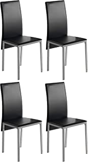 Miroytengo Pack 4 sillas Comedor Salon Estilo contemporaneo Saona Negro Cocina Modernas Polipiel 97x51x42