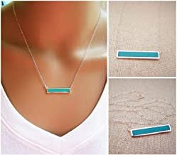 Minimalist Turquoise Bar Sterling Silver Bar Necklace