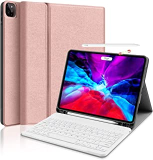Keyboard Case for iPad Pro 11 2020, iPad Pro 11 Case with Keyboard 2018 for iPad Pro 11 1st/2nd Generation Wireless Detachable Keyboard Stand Cover with Pencil Slot Support Apple Pencil, Rose Gold