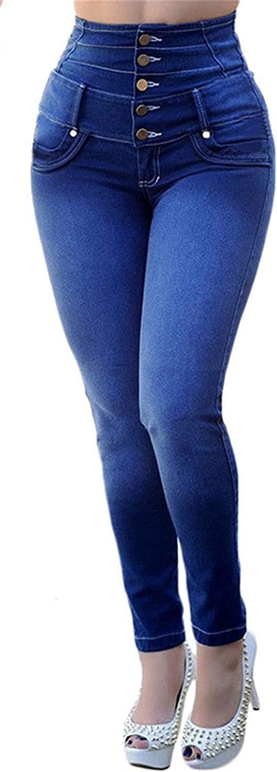 Women's Genuine Free Shipping Button Front High Very popular Waisted Stretch Skinny Jeggings Jeans